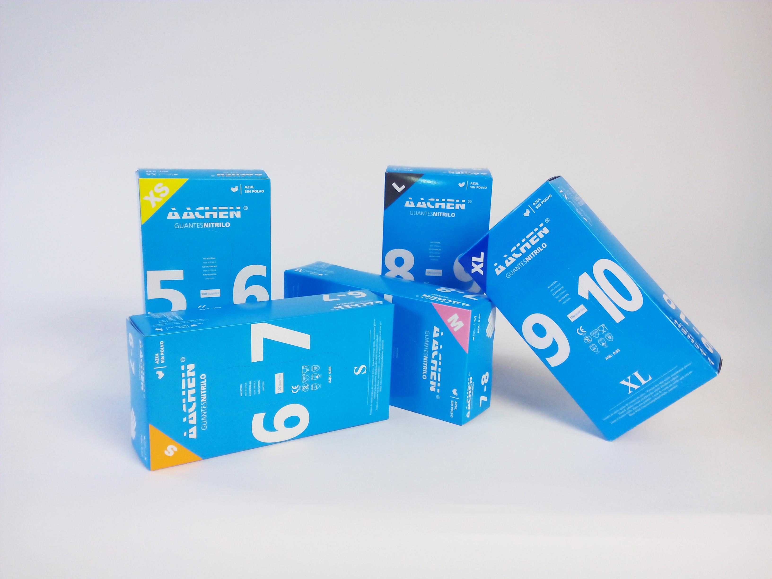 guantes de nitrilo azul aachen