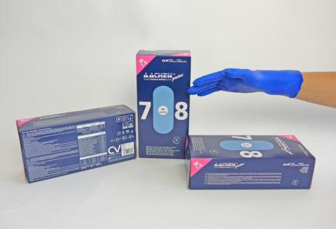 guante de nitrilo azul extrafuerte aachenprotec