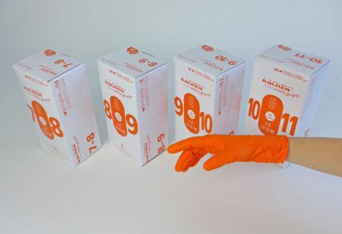 guante naranja gofrado piel de gallina
