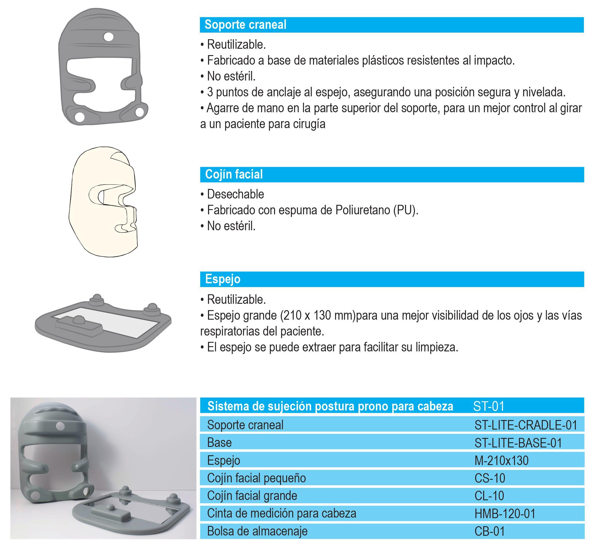 Soporte para posicion prono cabeza - Guantes de Vinilo, Latex y Nitrilo - Bolsas de Autocierre